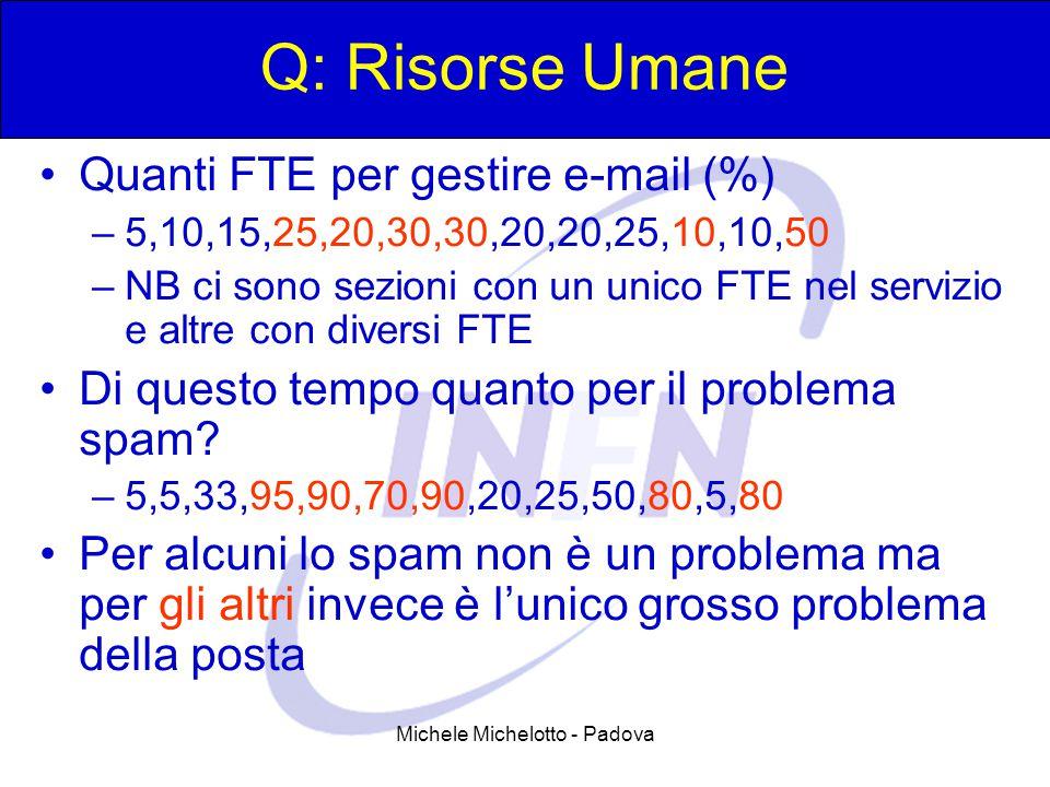Michele Michelotto - Padova Q: Risorse Umane Quanti FTE per gestire e-mail (%) –5,10,15,25,20,30,30,20,20,25,10,10,50 –NB ci sono sezioni con un unico