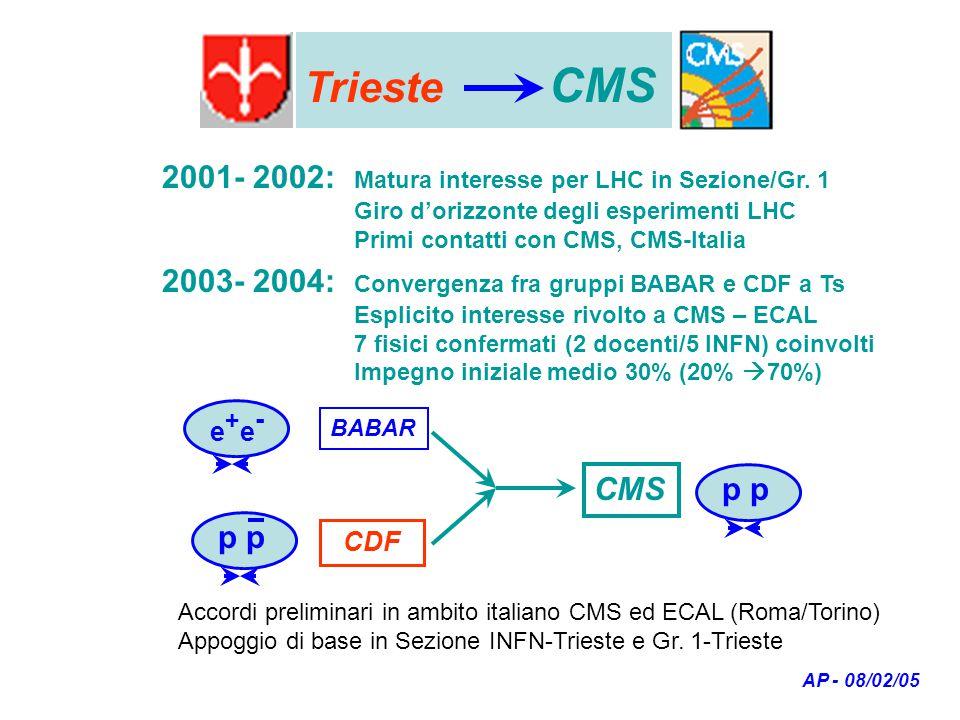 Trieste CMS AP - 08/02/05 2001- 2002: Matura interesse per LHC in Sezione/Gr.