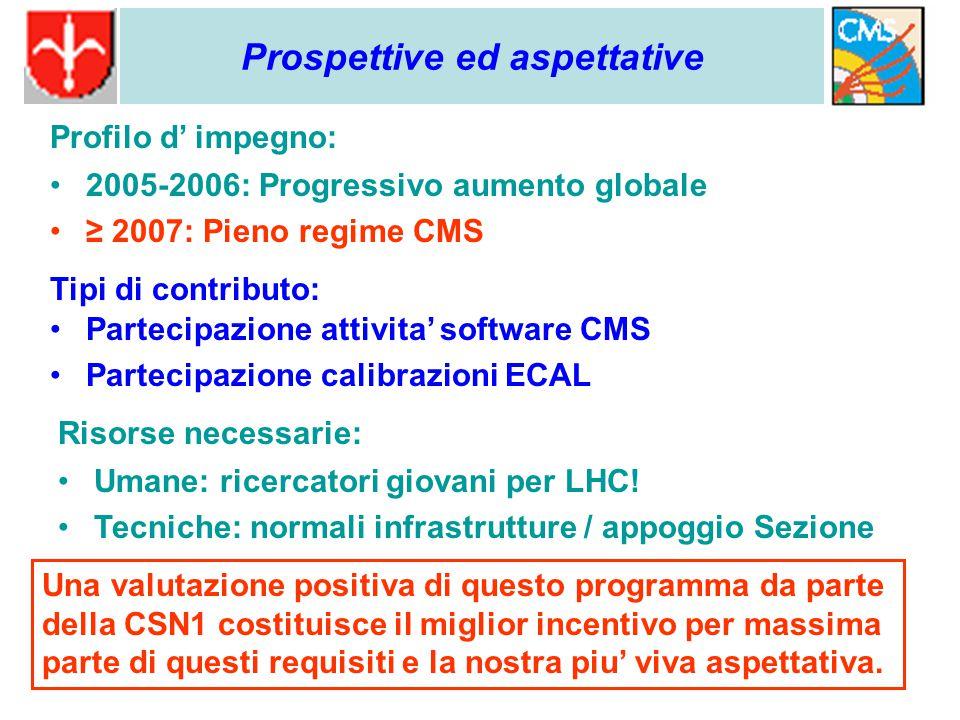 2005-2006: Progressivo aumento globale ≥ 2007: Pieno regime CMS Prospettive ed aspettative Profilo d' impegno: Tipi di contributo: Partecipazione attivita' software CMS Partecipazione calibrazioni ECAL Risorse necessarie: Umane: ricercatori giovani per LHC.