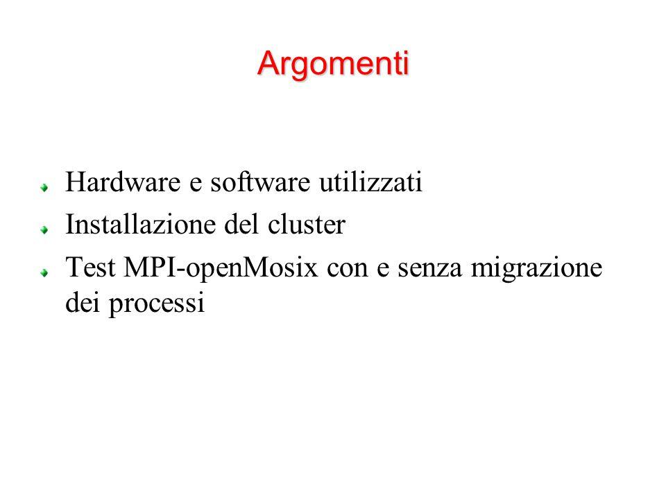 Argomenti Hardware e software utilizzati Installazione del cluster Test MPI-openMosix con e senza migrazione dei processi