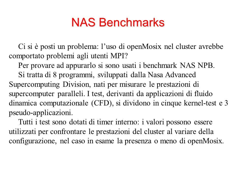 NAS Benchmarks Ci si è posti un problema: l'uso di openMosix nel cluster avrebbe comportato problemi agli utenti MPI.