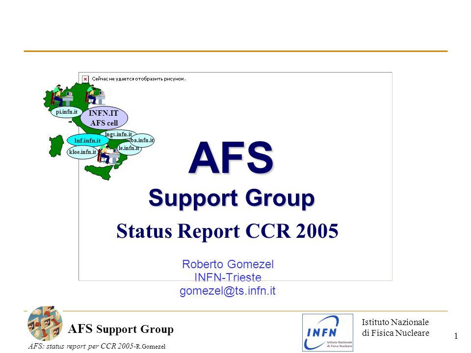 Istituto Nazionale di Fisica Nucleare AFS: status report per CCR 2005- R.Gomezel AFS Support Group 1 Status Report CCR 2005 Roberto Gomezel INFN-Trieste gomezel@ts.infn.it INFN.IT AFS cell le.infn.it lngs.infn.it pi.infn.it lnf.infn.it ba.infn.it kloe.infn.it