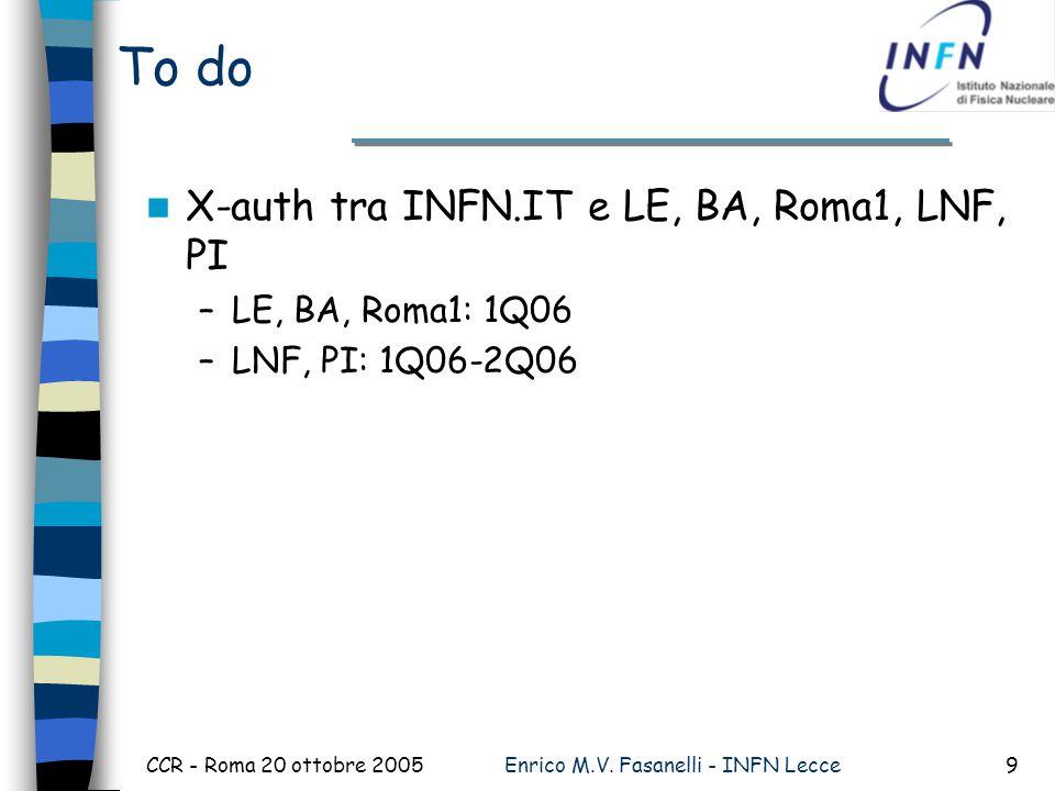 CCR - Roma 20 ottobre 2005Enrico M.V. Fasanelli - INFN Lecce9 To do X-auth tra INFN.IT e LE, BA, Roma1, LNF, PI –LE, BA, Roma1: 1Q06 –LNF, PI: 1Q06-2Q