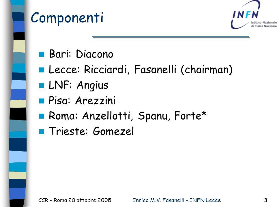 CCR - Roma 20 ottobre 2005Enrico M.V. Fasanelli - INFN Lecce3 Componenti Bari: Diacono Lecce: Ricciardi, Fasanelli (chairman) LNF: Angius Pisa: Arezzi