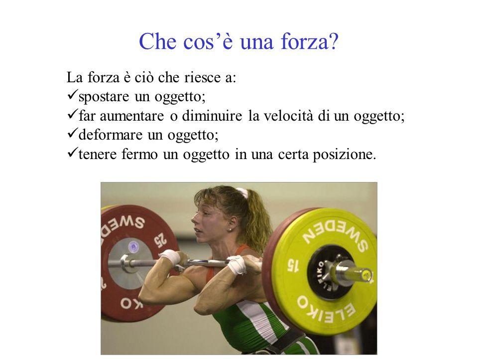Che cos'è una forza? La forza è ciò che riesce a: spostare un oggetto; far aumentare o diminuire la velocità di un oggetto; deformare un oggetto; tene