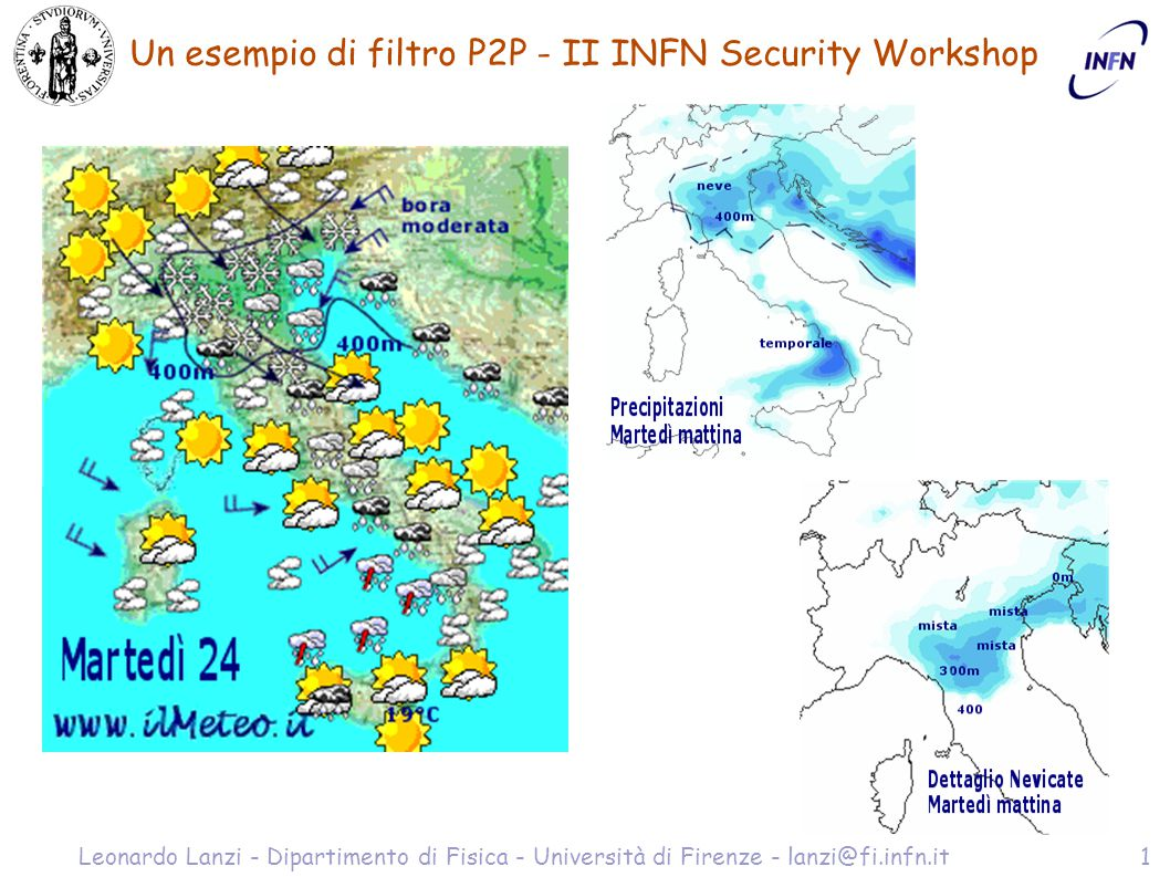 Un esempio di filtro P2P - II INFN Security Workshop Leonardo Lanzi - Dipartimento di Fisica - Università di Firenze - lanzi@fi.infn.it2 Cosa è il Peer-to-Peer .