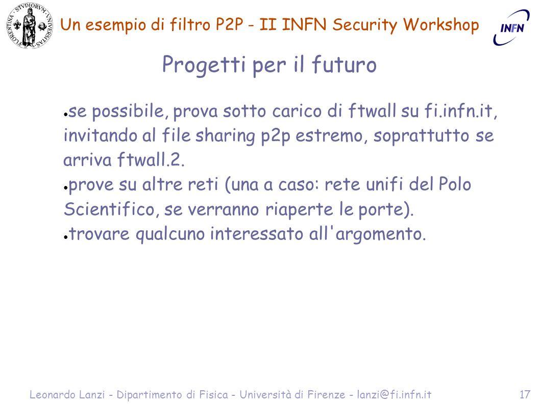 Un esempio di filtro P2P - II INFN Security Workshop Leonardo Lanzi - Dipartimento di Fisica - Università di Firenze - lanzi@fi.infn.it17 Progetti per il futuro ● se possibile, prova sotto carico di ftwall su fi.infn.it, invitando al file sharing p2p estremo, soprattutto se arriva ftwall.2.
