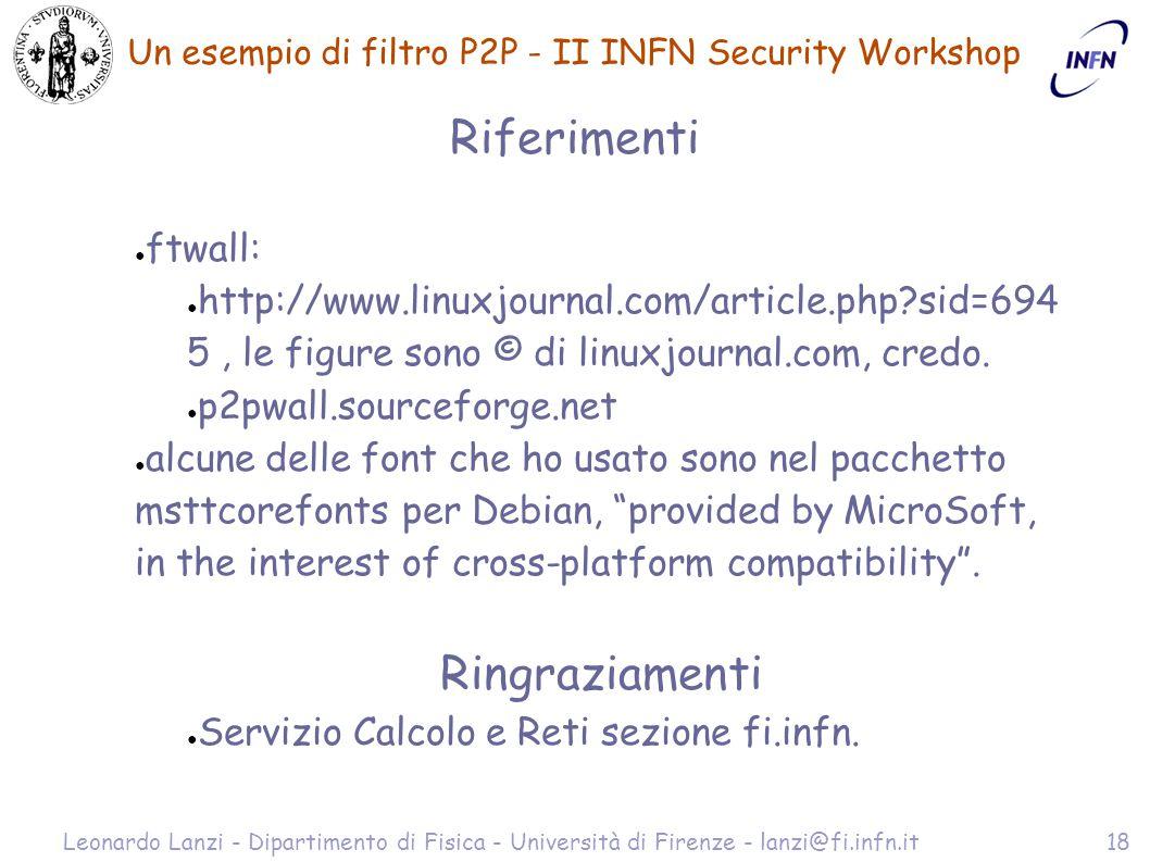 Un esempio di filtro P2P - II INFN Security Workshop Leonardo Lanzi - Dipartimento di Fisica - Università di Firenze - lanzi@fi.infn.it18 Riferimenti ● ftwall: ● http://www.linuxjournal.com/article.php sid=694 5, le figure sono © di linuxjournal.com, credo.