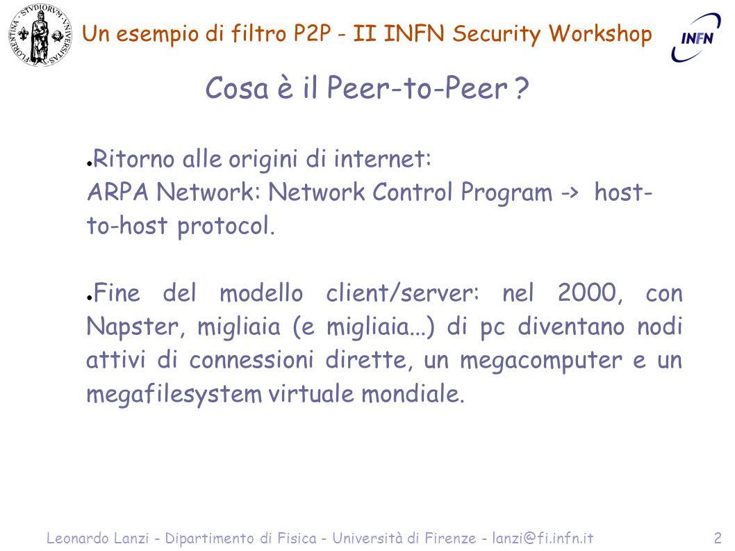 Un esempio di filtro P2P - II INFN Security Workshop Leonardo Lanzi - Dipartimento di Fisica - Università di Firenze - lanzi@fi.infn.it13 ftwall setup non sempre è possibile aggiungere un altro firewall...