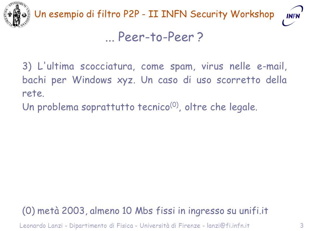 Un esempio di filtro P2P - II INFN Security Workshop Leonardo Lanzi - Dipartimento di Fisica - Università di Firenze - lanzi@fi.infn.it14 Esempi di log - ftwall # tail -3 /var/lib/ftwall.store [con log udp dropped] Feb 19 17:14:30 prova ftwall[1576]: Drop UDP packet (FORWARD) from br0:193.206.a.b:1466 to br0:62.16.152.x:3302 Feb 19 17:14:31 prova ftwall[1576]: Drop UDP packet (FORWARD) from br0:193.206.a.b:1466 to br0:217.210.103.y:2457 Feb 19 17:14:32 prova ftwall[1576]: Drop UDP packet (FORWARD) from br0:193.206.a.b:1466 to br0:213.113.202.z:1807 # tail -3 /var/lib/ftwall.store 193.136.153.x:2684 193.170.63.y:3316 81.99.1.z:3032 # ls -l /var/log/ftwall.clients/ total 0 -rw-r--r-- 1 root root 0 Feb 20 15:14 193.206.190.b