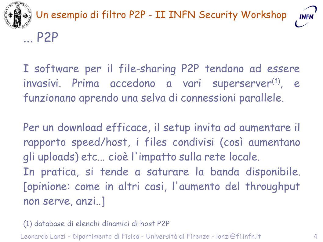Un esempio di filtro P2P - II INFN Security Workshop Leonardo Lanzi - Dipartimento di Fisica - Università di Firenze - lanzi@fi.infn.it5 Soluzioni .