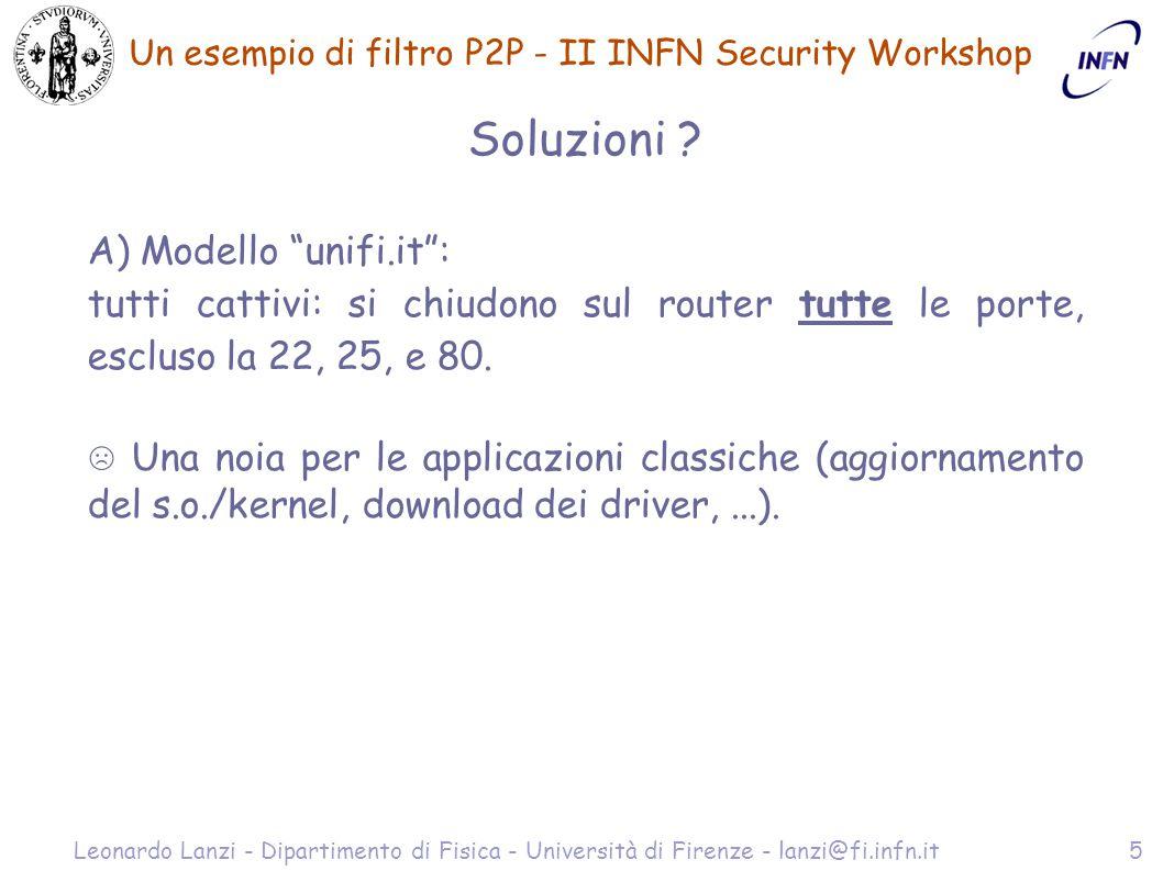 Un esempio di filtro P2P - II INFN Security Workshop Leonardo Lanzi - Dipartimento di Fisica - Università di Firenze - lanzi@fi.infn.it6 Soluzioni B) Blocco delle porte basse, con sorveglianza a vista del traffico (ntop, snort/acid,...).