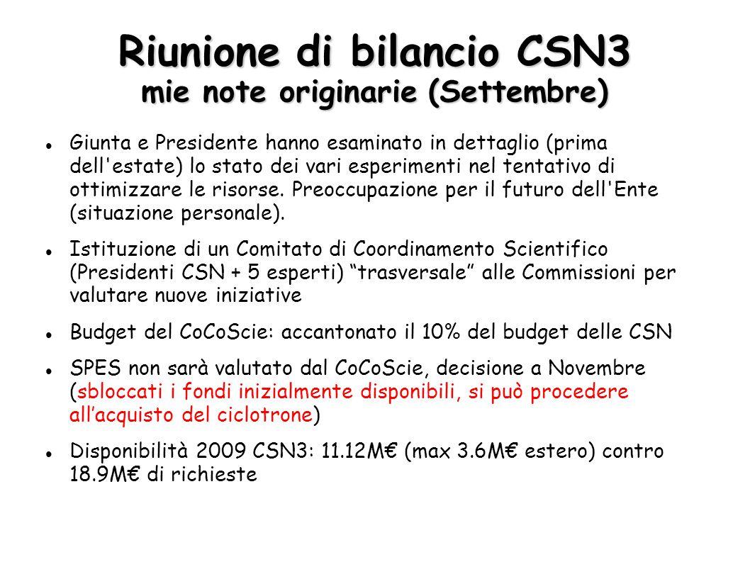 Riunione di bilancio CSN3 mie note originarie (Settembre) Giunta e Presidente hanno esaminato in dettaglio (prima dell estate) lo stato dei vari esperimenti nel tentativo di ottimizzare le risorse.