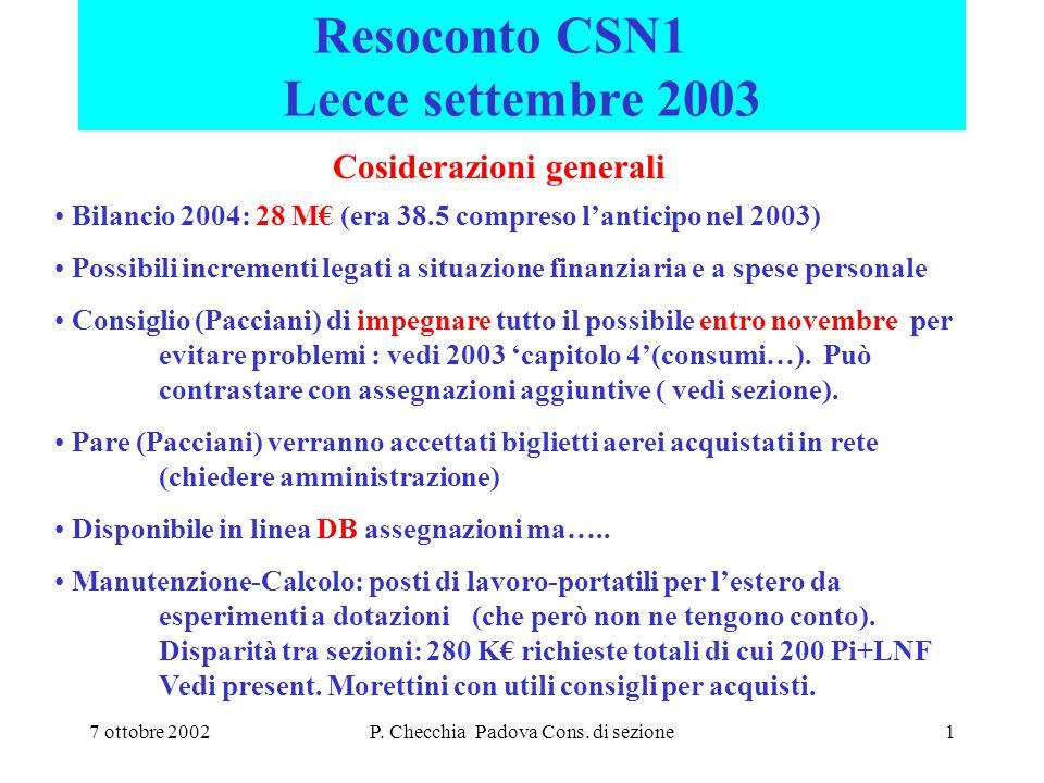 7 ottobre 2002P. Checchia Padova Cons. di sezione1 Resoconto CSN1 Lecce settembre 2003 Cosiderazioni generali Bilancio 2004: 28 M€ (era 38.5 compreso