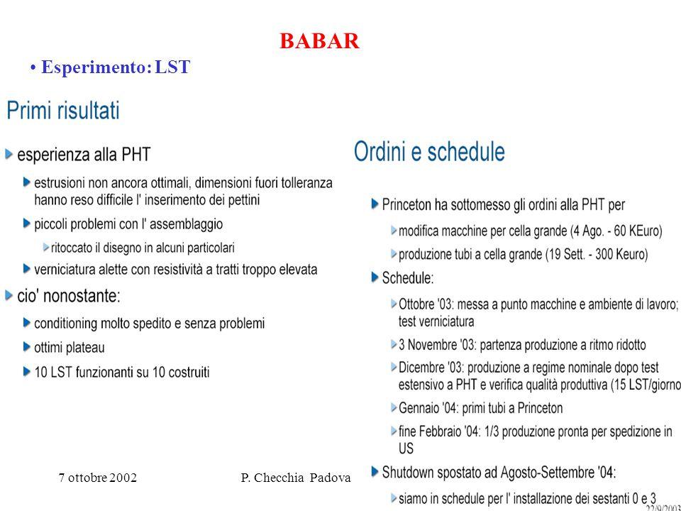 7 ottobre 2002P. Checchia Padova Cons. di sezione6 BABAR Esperimento