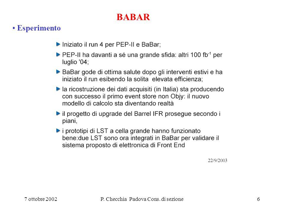 27 Dotazioni (PD) DELPHI Lineal Collider richiesti 20+20 K€ (Pd +LNF), dati 10+10 (+ 20 s.j.