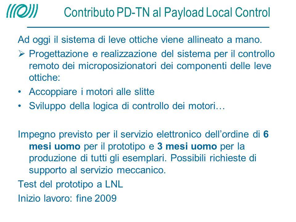 Contributo PD-TN al Payload Local Control Ad oggi il sistema di leve ottiche viene allineato a mano.  Progettazione e realizzazione del sistema per i