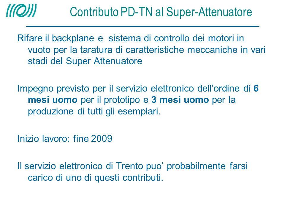 Contributo PD-TN al Super-Attenuatore Rifare il backplane e sistema di controllo dei motori in vuoto per la taratura di caratteristiche meccaniche in