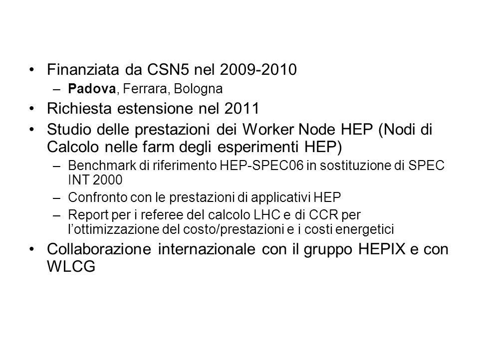 Presentazioni CHEP 2009 Prague: M.