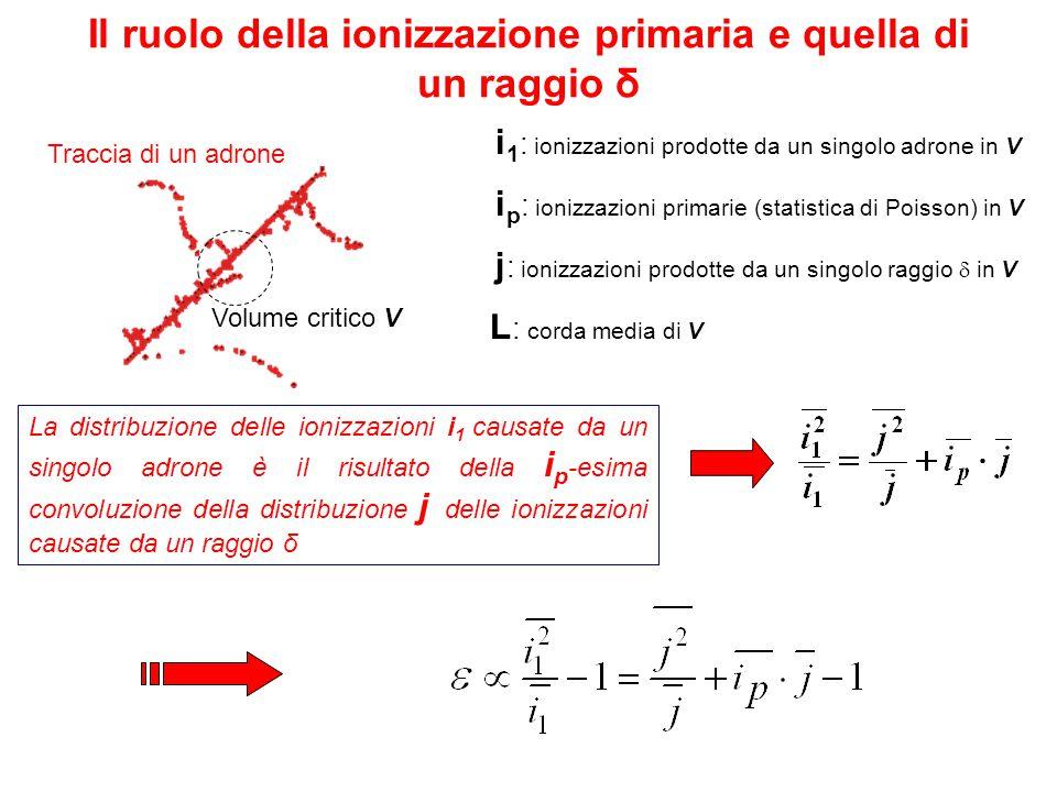 Il ruolo della ionizzazione primaria e quella di un raggio δ i 1 : ionizzazioni prodotte da un singolo adrone in V i p : ionizzazioni primarie (statistica di Poisson) in V j : ionizzazioni prodotte da un singolo raggio  in  V La distribuzione delle ionizzazioni i 1 causate da un singolo adrone è il risultato della i p -esima convoluzione della distribuzione j delle ionizzazioni causate da un raggio δ Volume critico V Traccia di un adrone L : corda media di  V