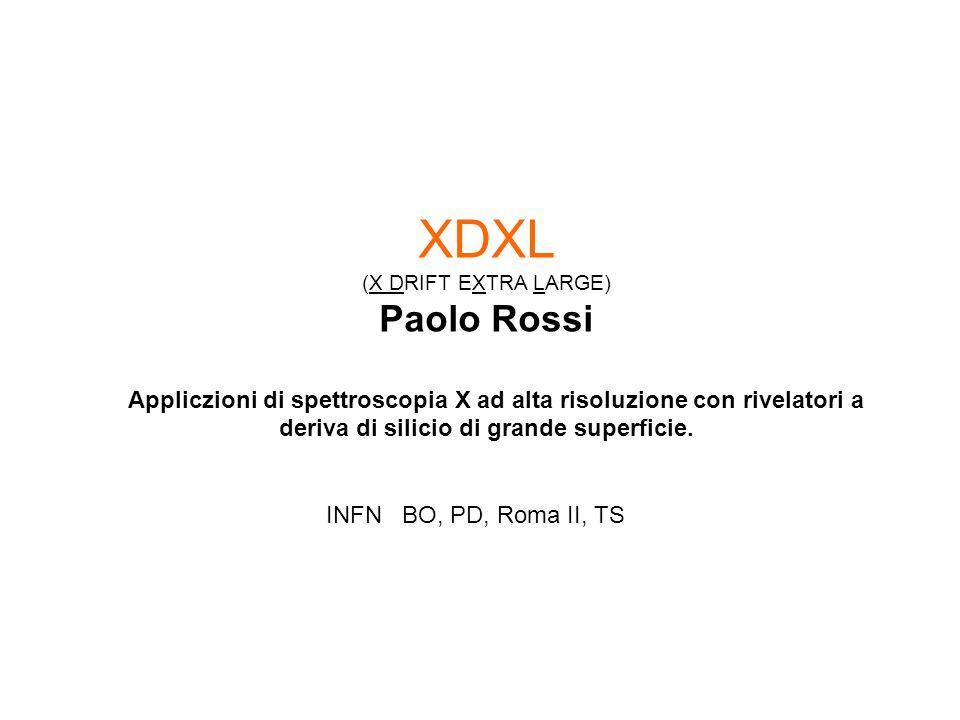 XDXL (X DRIFT EXTRA LARGE) Paolo Rossi Appliczioni di spettroscopia X ad alta risoluzione con rivelatori a deriva di silicio di grande superficie.
