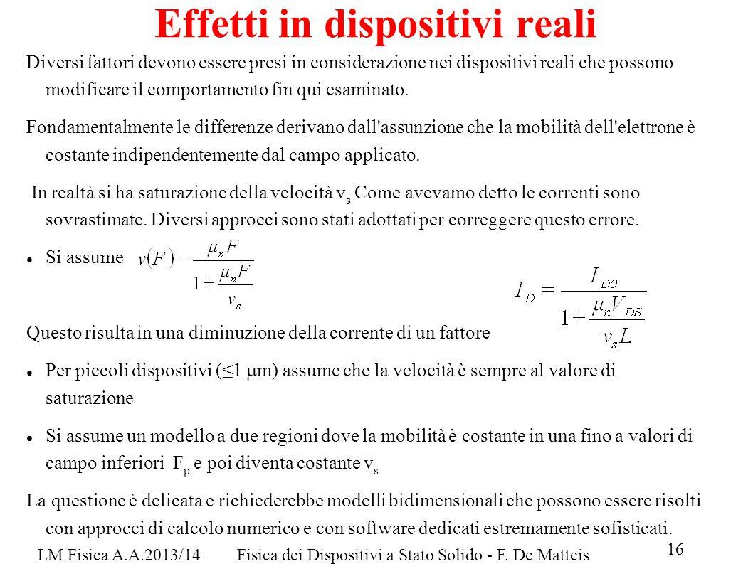 16 LM Fisica A.A.2013/14Fisica dei Dispositivi a Stato Solido - F.