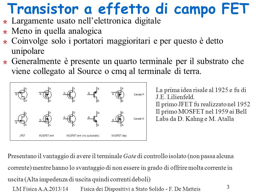 3 LM Fisica A.A.2013/14Fisica dei Dispositivi a Stato Solido - F.