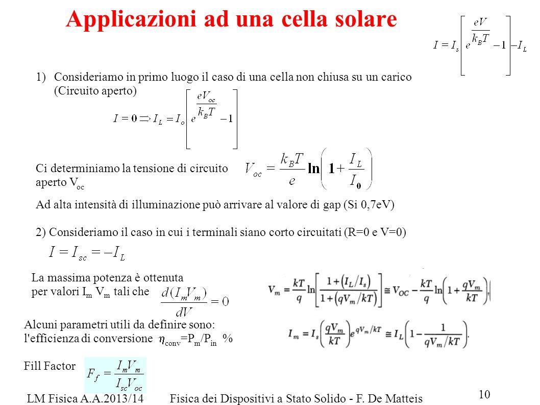 LM Fisica A.A.2013/14Fisica dei Dispositivi a Stato Solido - F. De Matteis Applicazioni ad una cella solare 1)Consideriamo in primo luogo il caso di u