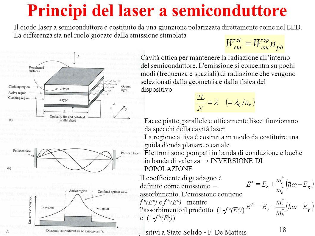 LM Fisica A.A.2013/14Fisica dei Dispositivi a Stato Solido - F. De Matteis Principi del laser a semiconduttore Il diodo laser a semiconduttore è costi