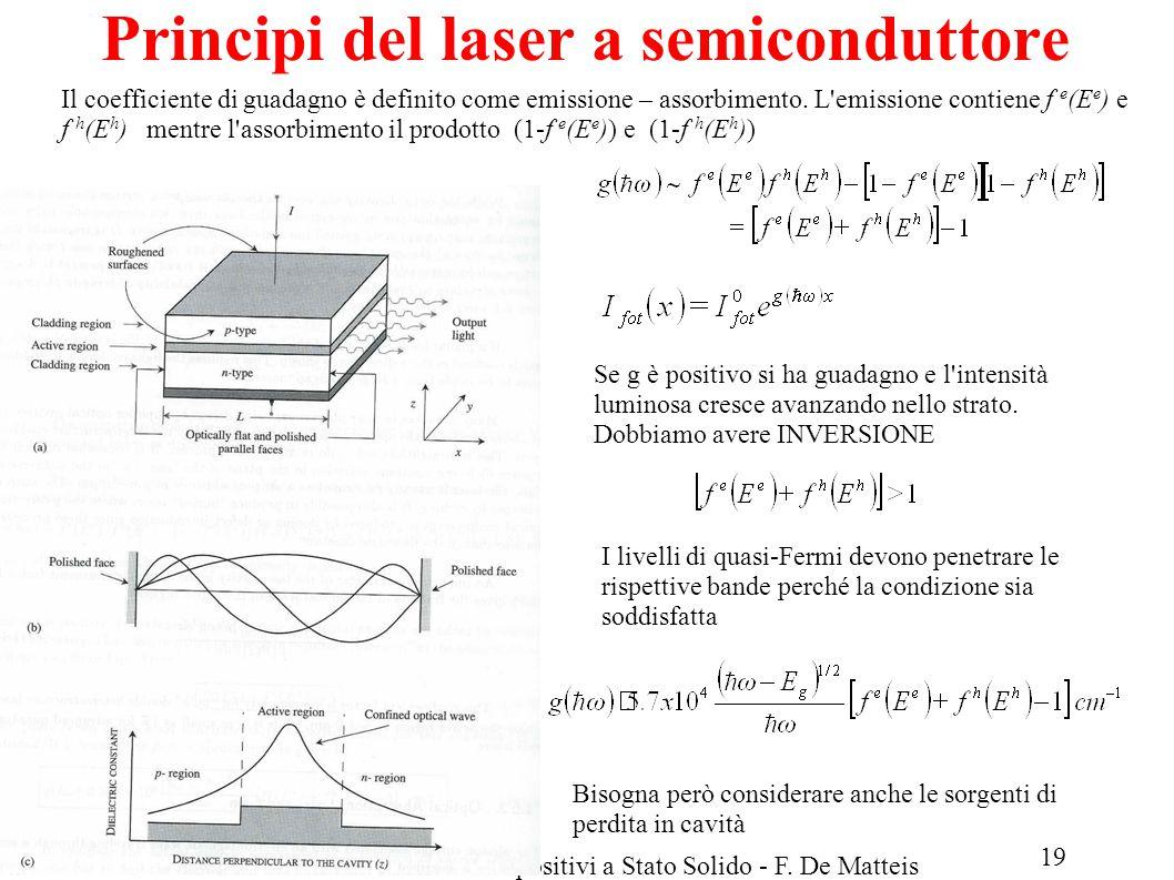 LM Fisica A.A.2013/14Fisica dei Dispositivi a Stato Solido - F. De Matteis Principi del laser a semiconduttore Il coefficiente di guadagno è definito