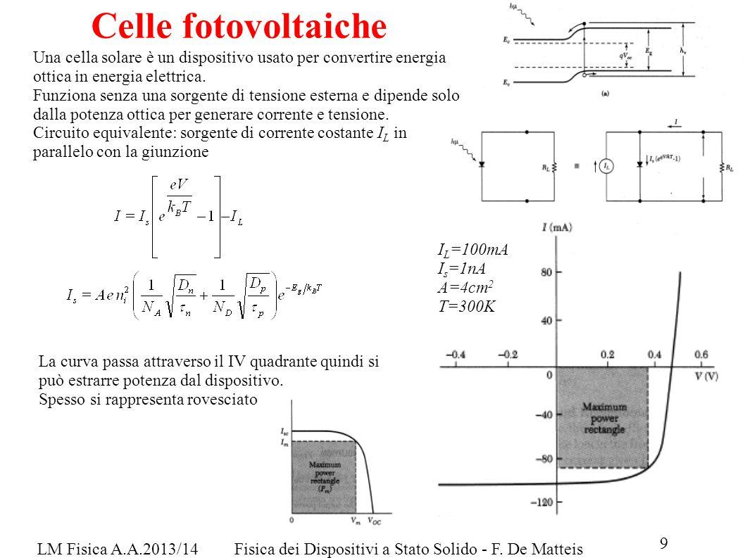 LM Fisica A.A.2013/14Fisica dei Dispositivi a Stato Solido - F. De Matteis Celle fotovoltaiche Una cella solare è un dispositivo usato per convertire