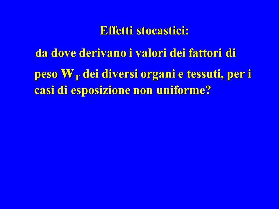 Effetti stocastici: d a dove derivano i valori dei fattori di peso w T dei diversi organi e tessuti, per i casi di esposizione non uniforme? d a dove