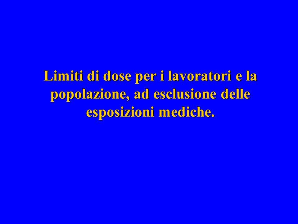 Limiti di dose per i lavoratori e la popolazione, ad esclusione delle esposizioni mediche.