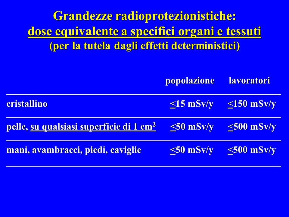 Grandezze radioprotezionistiche: dose equivalente a specifici organi e tessuti (per la tutela dagli effetti deterministici) popolazione lavoratori pop
