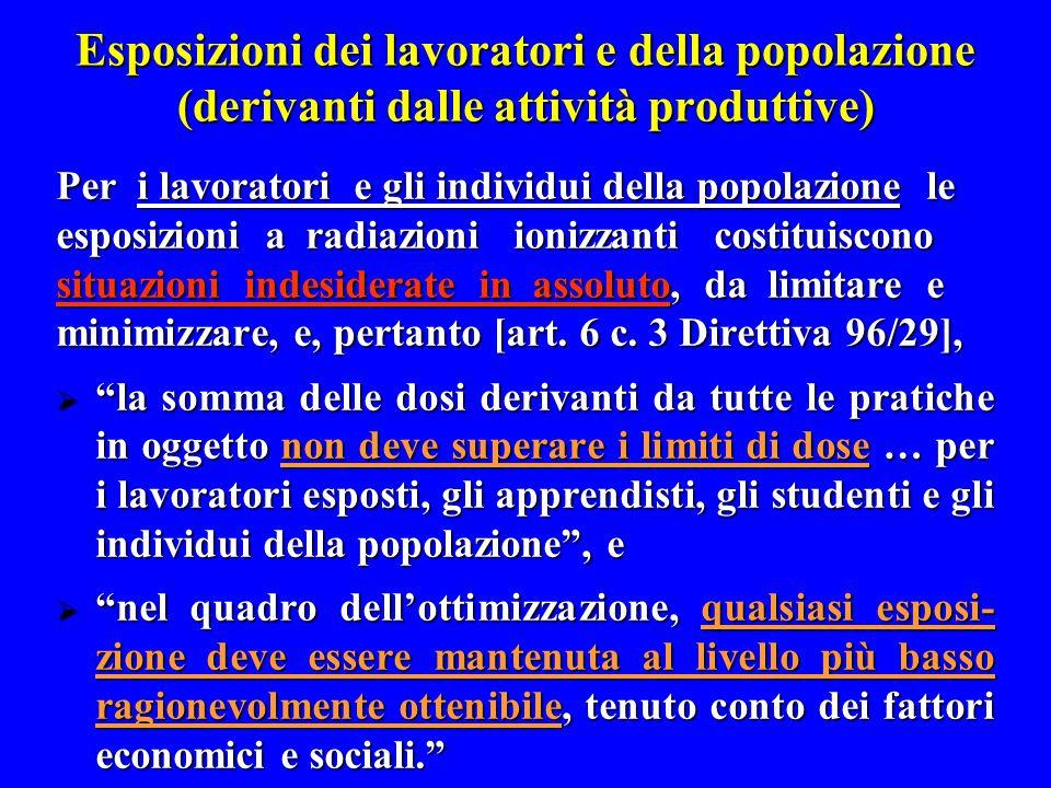 Esposizioni dei lavoratori e della popolazione (derivanti dalle attività produttive) Per i lavoratori e gli individui della popolazione le esposizioni