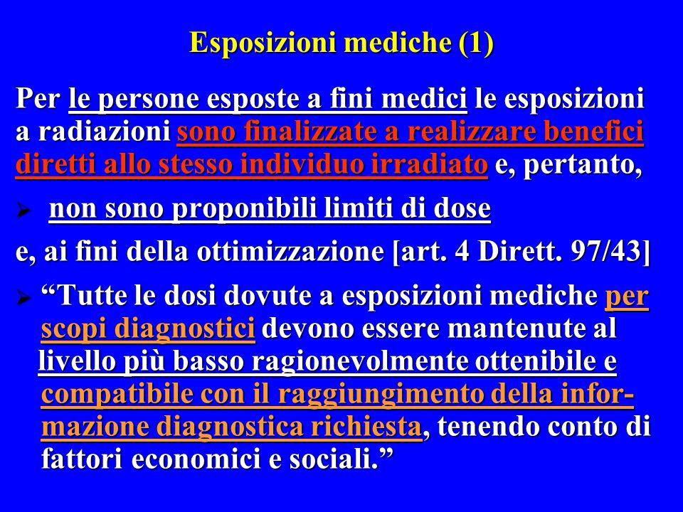Esposizioni mediche (1) Per le persone esposte a fini medici le esposizioni a radiazioni sono finalizzate a realizzare benefici diretti allo stesso in