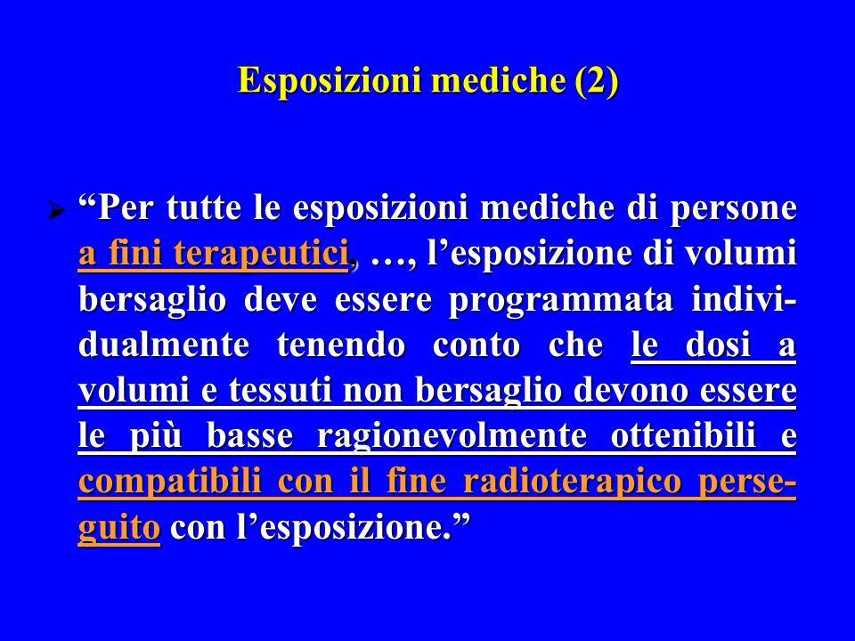 """Esposizioni mediche (2)  """"Per tutte le esposizioni mediche di persone a fini terapeutici, …, l'esposizione di volumi bersaglio deve essere programmat"""