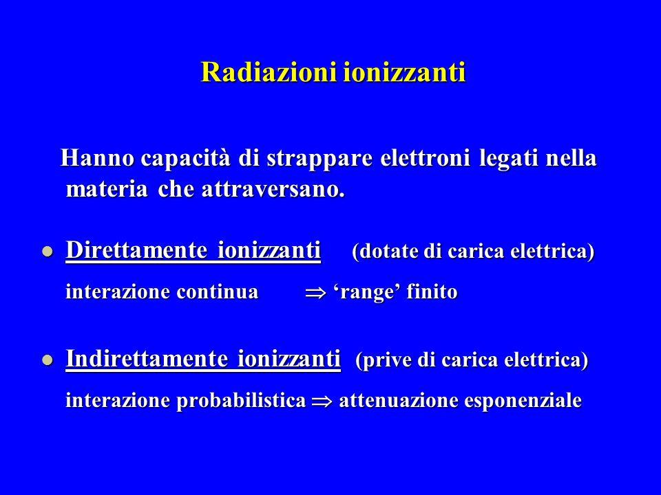 Radiazioni ionizzanti Hanno capacità di strappare elettroni legati nella materia che attraversano. Direttamente ionizzanti (dotate di carica elettrica