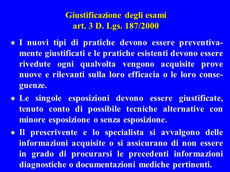 Giustificazione degli esami art. 3 D. Lgs. 187/2000 I nuovi tipi di pratiche devono essere preventiva- mente giustificati e le pratiche esistenti devo