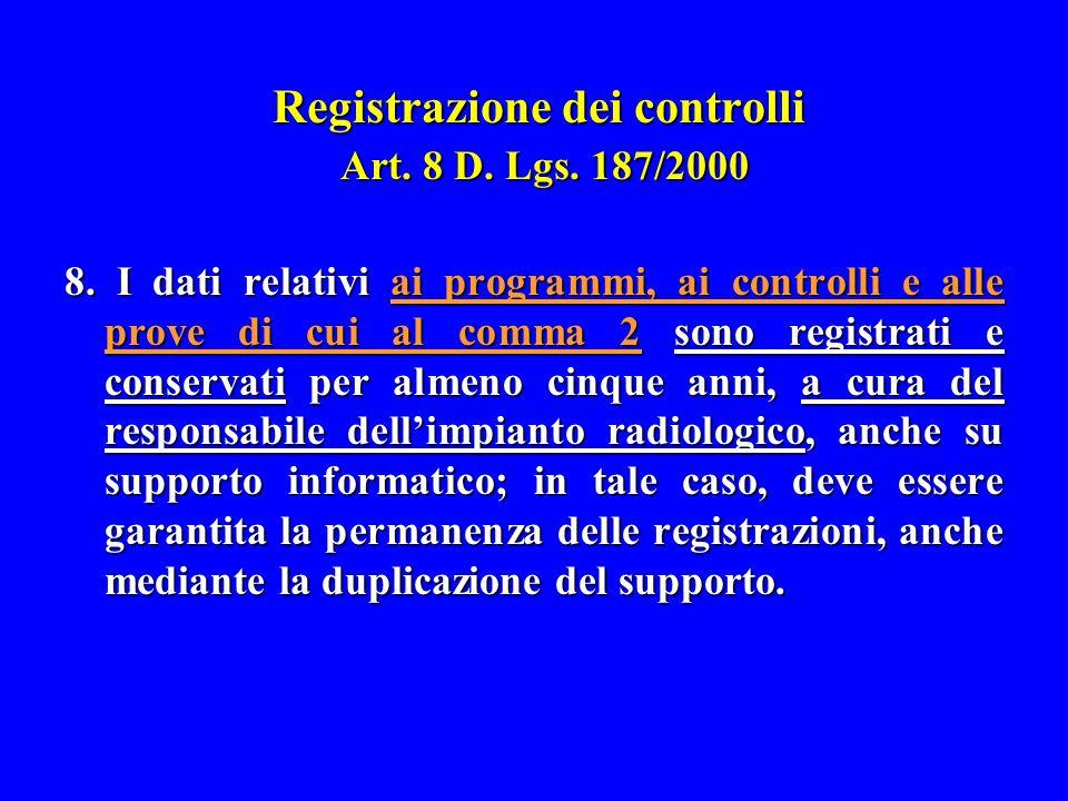 Registrazione dei controlli Art. 8 D. Lgs. 187/2000 8. I dati relativi ai programmi, ai controlli e alle prove di cui al comma 2 sono registrati e con