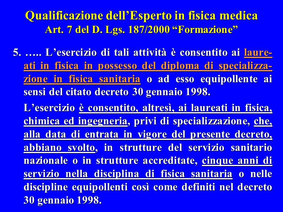 """Qualificazione dell'Esperto in fisica medica Art. 7 del D. Lgs. 187/2000 """"Formazione"""" 5. ….. L'esercizio di tali attività è consentito ai laure- ati i"""