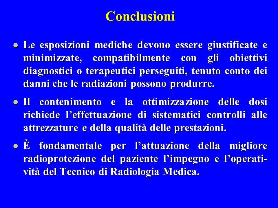 Conclusioni Le esposizioni mediche devono essere giustificate e minimizzate, compatibilmente con gli obiettivi diagnostici o terapeutici perseguiti, t