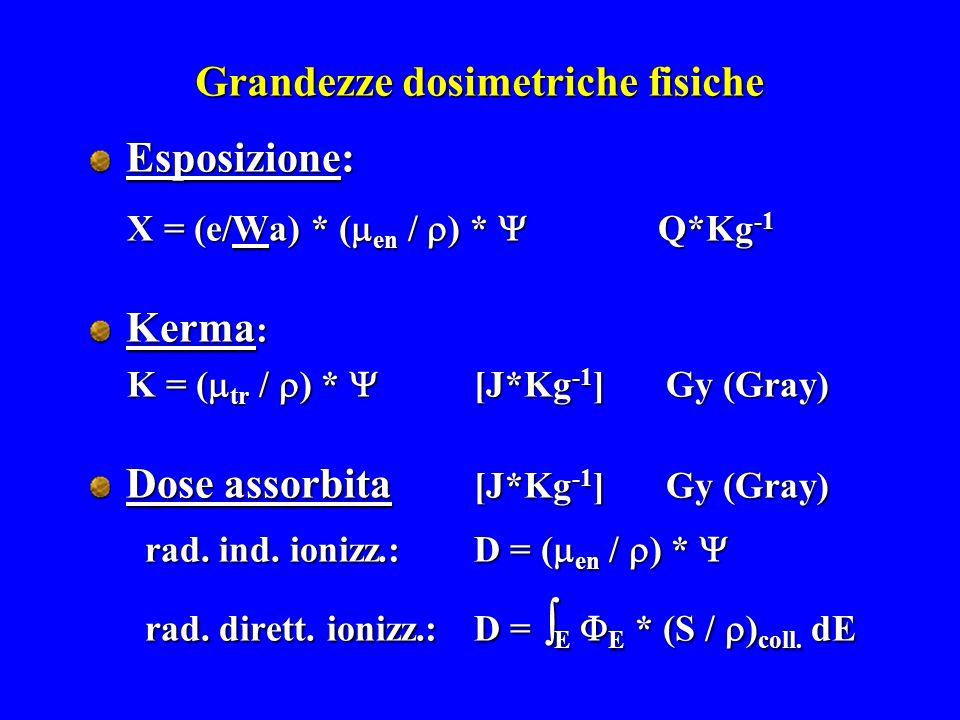 Grandezze dosimetriche fisiche Esposizione: X = (e/Wa) * (  en /  ) *  Q*Kg -1 X = (e/Wa) * (  en /  ) *  Q*Kg -1 Kerma : K = (  tr /  ) *  [