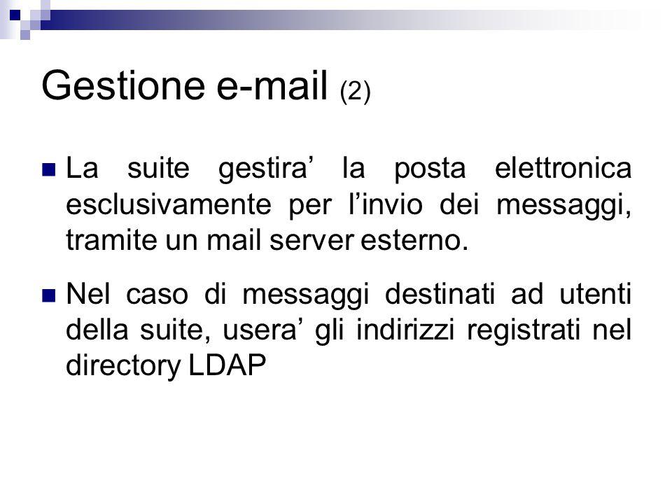 Gestione e-mail (2) La suite gestira' la posta elettronica esclusivamente per l'invio dei messaggi, tramite un mail server esterno.