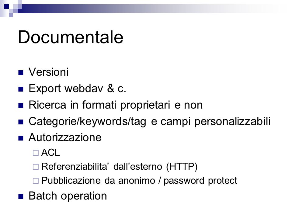 Documentale Versioni Export webdav & c.