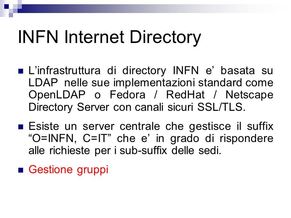 INFN Internet Directory L'infrastruttura di directory INFN e' basata su LDAP nelle sue implementazioni standard come OpenLDAP o Fedora / RedHat / Netscape Directory Server con canali sicuri SSL/TLS.