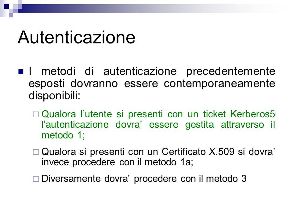 Autenticazione I metodi di autenticazione precedentemente esposti dovranno essere contemporaneamente disponibili:  Qualora l'utente si presenti con un ticket Kerberos5 l'autenticazione dovra' essere gestita attraverso il metodo 1;  Qualora si presenti con un Certificato X.509 si dovra' invece procedere con il metodo 1a;  Diversamente dovra' procedere con il metodo 3
