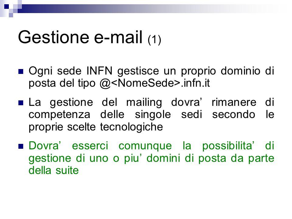 Gestione e-mail (1) Ogni sede INFN gestisce un proprio dominio di posta del tipo @.infn.it La gestione del mailing dovra' rimanere di competenza delle singole sedi secondo le proprie scelte tecnologiche Dovra' esserci comunque la possibilita' di gestione di uno o piu' domini di posta da parte della suite