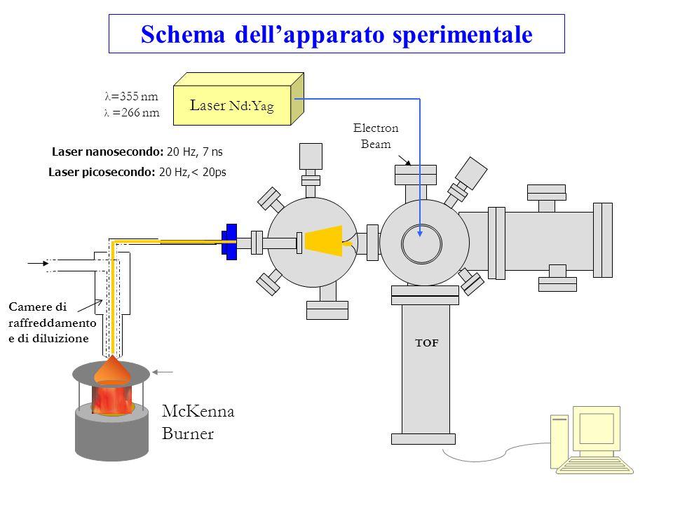 TOF Electron Beam Laser Nd:Yag Camere di raffreddamento e di diluizione McKenna Burner λ=355 nm λ =266 nm Schema dell'apparato sperimentale Laser nano
