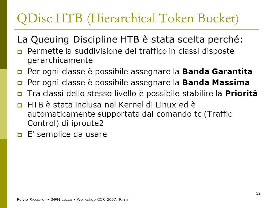 Fulvio Ricciardi - INFN Lecce - Workshop CCR 2007, Rimini 13 QDisc HTB (Hierarchical Token Bucket) La Queuing Discipline HTB è stata scelta perché: 
